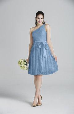 934d8b45c2d ColsBM Ariya Faded Denim Romantic One Shoulder Zip up Knee Length Sash Bridesmaid  Dresses