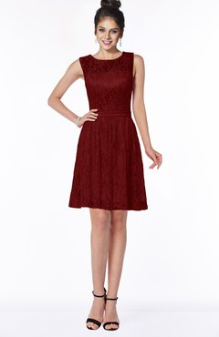 ColsBM Mariana Maroon Romantic Scoop Zip up Satin Knee Length Bridesmaid Dresses