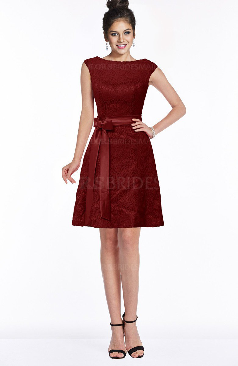 06684a536a ColsBM Leigh Dark Red Modest A-line Sleeveless Zip up Satin Lace Bridesmaid  Dresses