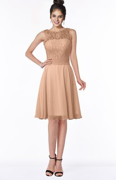 ColsBM Helen Almost Apricot Glamorous A-line Scoop Zip up Chiffon Sash Bridesmaid Dresses