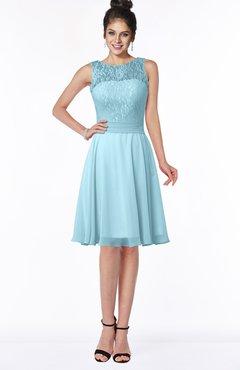 Colsbm Helen Aqua Glamorous A Line Scoop Zip Up Chiffon Sash Bridesmaid Dresses