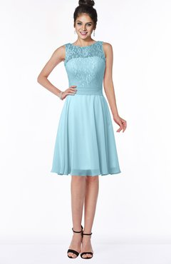 ColsBM Helen Aqua Glamorous A-line Scoop Zip up Chiffon Sash Bridesmaid Dresses