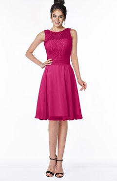 ColsBM Helen Beetroot Purple Glamorous A-line Scoop Zip up Chiffon Sash Bridesmaid Dresses