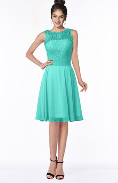 ColsBM Helen Blue Turquoise Glamorous A-line Scoop Zip up Chiffon Sash Bridesmaid Dresses