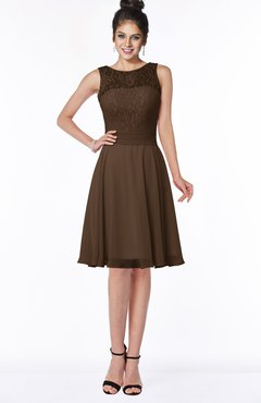 ColsBM Helen Chocolate Brown Glamorous A-line Scoop Zip up Chiffon Sash Bridesmaid Dresses