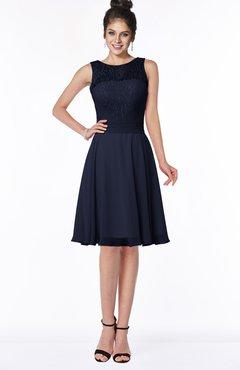 ColsBM Helen Dark Sapphire Glamorous A-line Scoop Zip up Chiffon Sash Bridesmaid Dresses