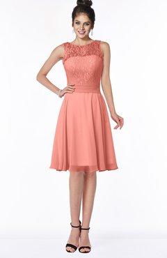 ColsBM Helen Desert Flower Glamorous A-line Scoop Zip up Chiffon Sash Bridesmaid Dresses