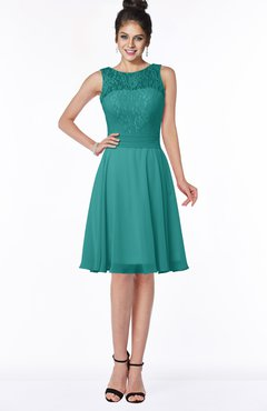 ColsBM Helen Emerald Green Glamorous A-line Scoop Zip up Chiffon Sash Bridesmaid Dresses