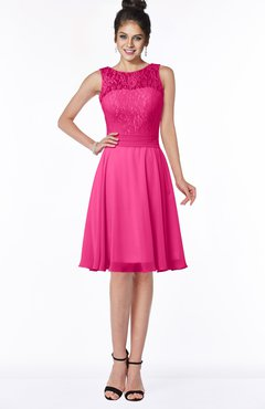 ColsBM Helen Fandango Pink Glamorous A-line Scoop Zip up Chiffon Sash Bridesmaid Dresses