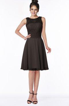 ColsBM Helen Fudge Brown Glamorous A-line Scoop Zip up Chiffon Sash Bridesmaid Dresses