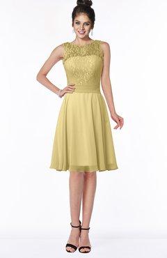 ColsBM Helen Gold Glamorous A-line Scoop Zip up Chiffon Sash Bridesmaid Dresses
