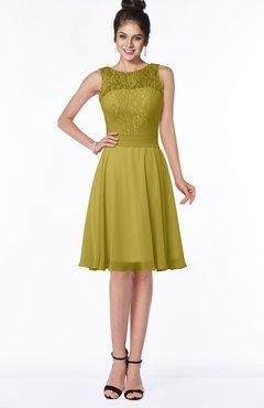 ColsBM Helen Golden Olive Glamorous A-line Scoop Zip up Chiffon Sash Bridesmaid Dresses