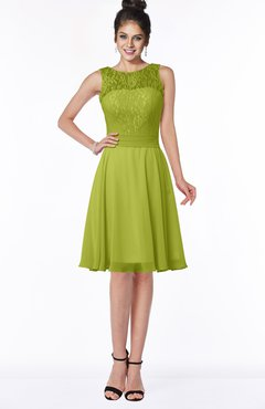 ColsBM Helen Green Oasis Glamorous A-line Scoop Zip up Chiffon Sash Bridesmaid Dresses