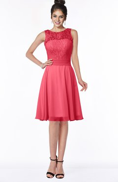 ColsBM Helen Guava Glamorous A-line Scoop Zip up Chiffon Sash Bridesmaid Dresses