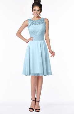 ColsBM Helen Ice Blue Glamorous A-line Scoop Zip up Chiffon Sash Bridesmaid Dresses