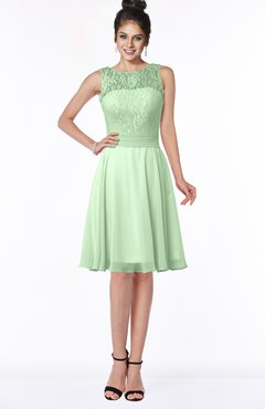 ColsBM Helen Light Green Glamorous A-line Scoop Zip up Chiffon Sash Bridesmaid Dresses