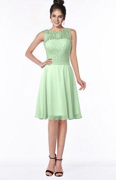 ColsBM Helen Light Green Glamorous A-line Scoop Zip up Chiffon Sash Bridesmaid Dresses