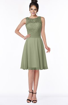 ColsBM Helen Moss Green Glamorous A-line Scoop Zip up Chiffon Sash Bridesmaid Dresses