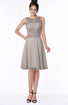 ColsBM Helen Mushroom Glamorous A-line Scoop Zip up Chiffon Sash Bridesmaid Dresses