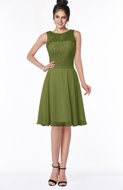 ColsBM Helen Olive Green Glamorous A-line Scoop Zip up Chiffon Sash Bridesmaid Dresses