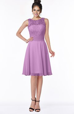 Glamorous A-line Scoop Zip up Chiffon Sash Bridesmaid Dresses