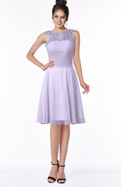 ColsBM Helen Pastel Lilac Glamorous A-line Scoop Zip up Chiffon Sash Bridesmaid Dresses