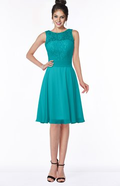 ColsBM Helen Peacock Blue Glamorous A-line Scoop Zip up Chiffon Sash Bridesmaid Dresses