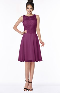 ColsBM Helen Raspberry Glamorous A-line Scoop Zip up Chiffon Sash Bridesmaid Dresses