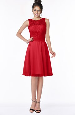 ColsBM Helen Red Glamorous A-line Scoop Zip up Chiffon Sash Bridesmaid Dresses