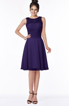 ColsBM Helen Royal Purple Glamorous A-line Scoop Zip up Chiffon Sash Bridesmaid Dresses