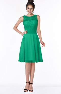 ColsBM Helen Sea Green Glamorous A-line Scoop Zip up Chiffon Sash Bridesmaid Dresses