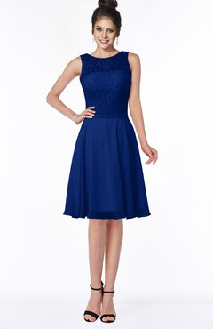 ColsBM Helen Sodalite Blue Glamorous A-line Scoop Zip up Chiffon Sash Bridesmaid Dresses