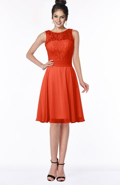 ColsBM Helen Tangerine Tango Glamorous A-line Scoop Zip up Chiffon Sash Bridesmaid Dresses