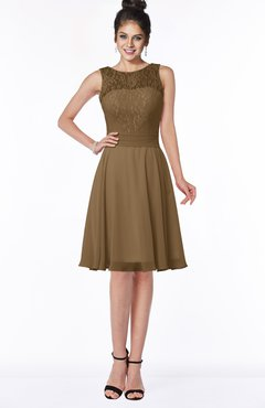ColsBM Helen Truffle Glamorous A-line Scoop Zip up Chiffon Sash Bridesmaid Dresses