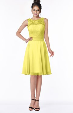 ColsBM Helen Yellow Iris Glamorous A-line Scoop Zip up Chiffon Sash Bridesmaid Dresses