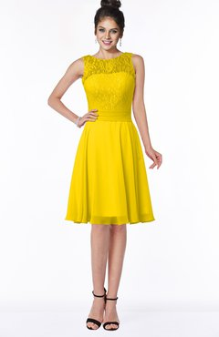 ColsBM Helen Yellow Glamorous A-line Scoop Zip up Chiffon Sash Bridesmaid Dresses