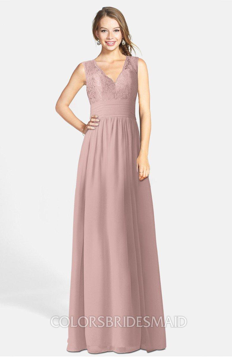 874ebd23b528 ColsBM Ciara Blush Pink Romantic A-line V-neck Zip up Chiffon Bridesmaid  Dresses