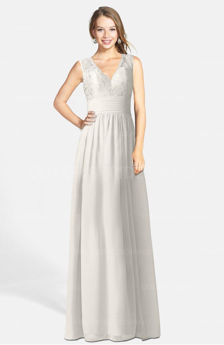 d4b22e900d ColsBM Ciara Off White Romantic A-line V-neck Zip up Chiffon Bridesmaid  Dresses