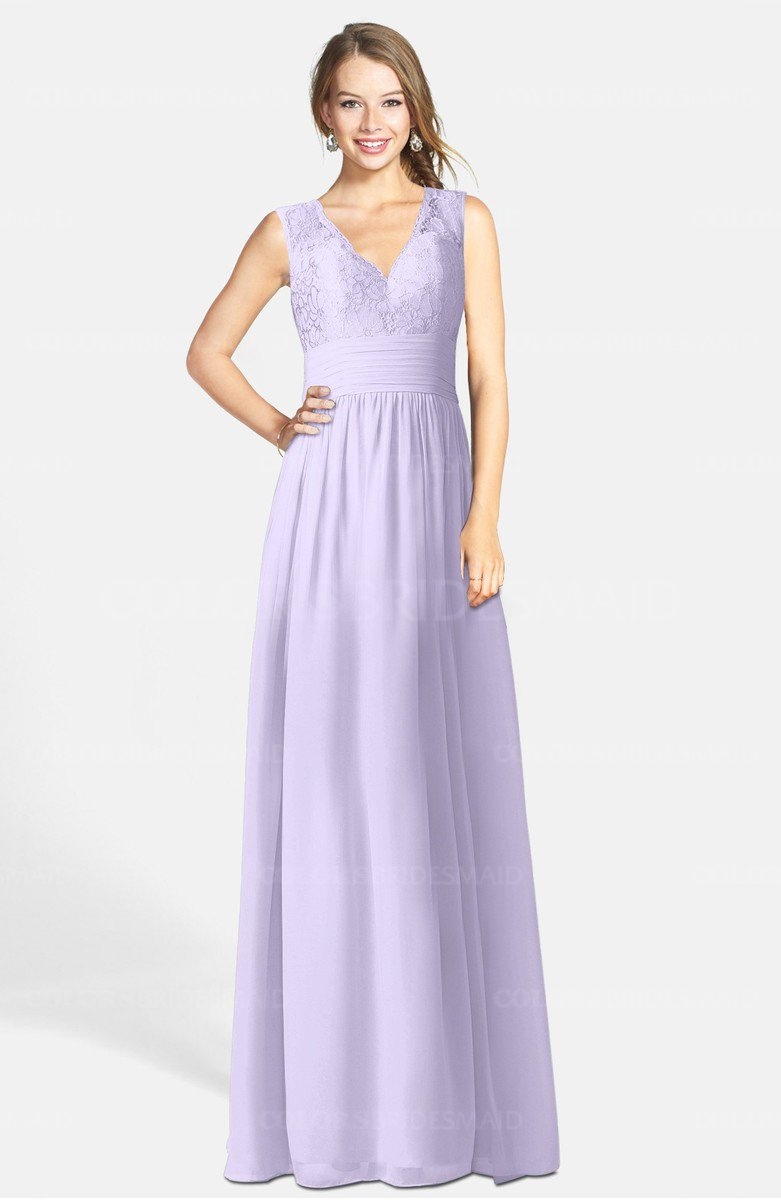 Pastel Lilac Romantic A-line V-neck Zip up Chiffon ...