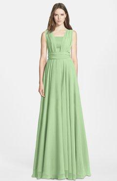01b086e5a93aa ColsBM Nala Sage Green Simple Wide Square Sleeveless Zip up Chiffon Floor  Length Bridesmaid Dresses