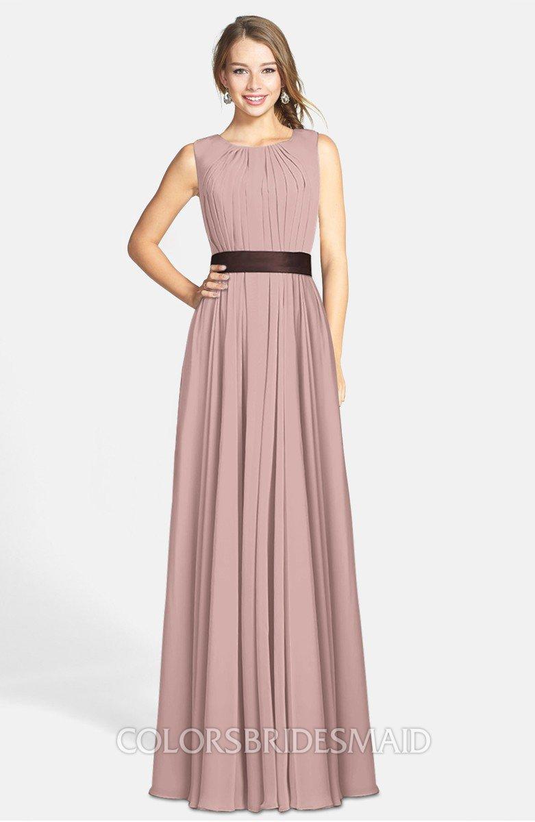 902adb3d8885 ColsBM Madalyn Blush Pink Glamorous Sleeveless Zip up Chiffon Floor Length  Ruching Bridesmaid Dresses