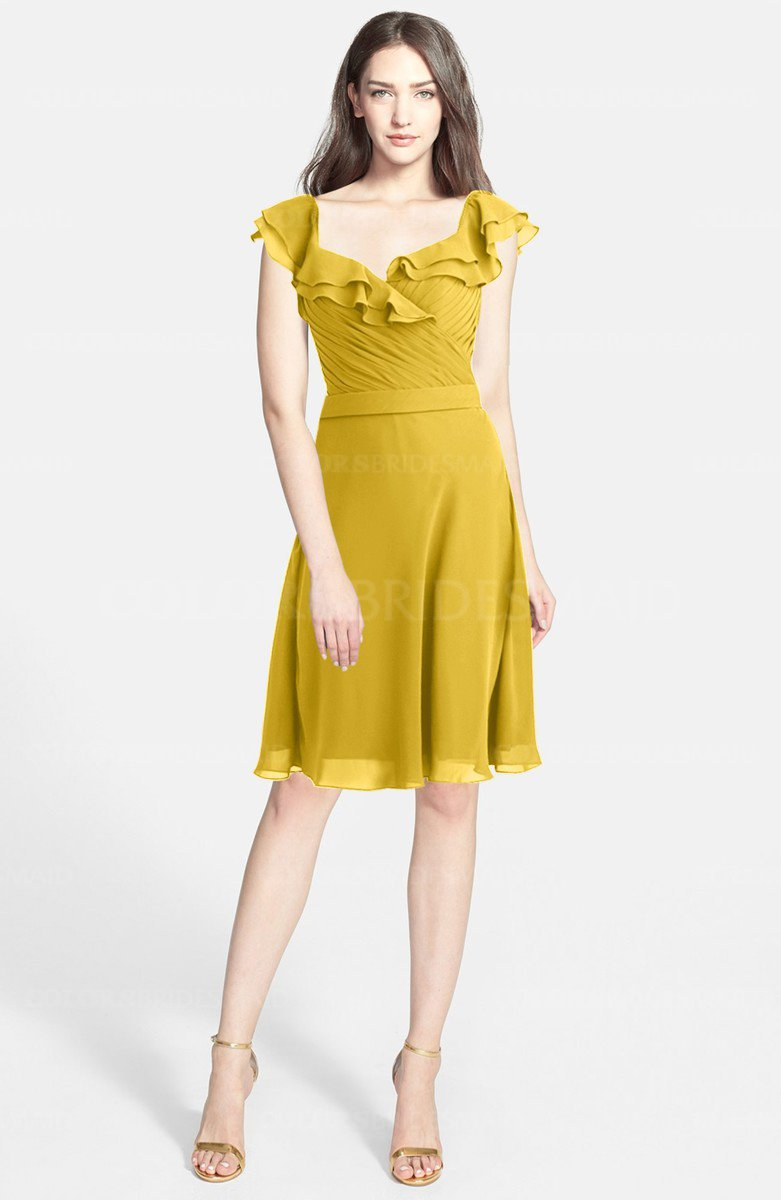 Lemon curry modern a line wide square chiffon knee length modern a line wide square chiffon knee length bridesmaid dresses ombrellifo Image collections