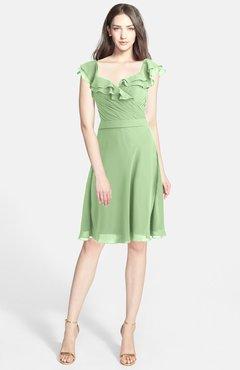 ae5e9346e8ec ColsBM Liliana Sage Green Modern A-line Wide Square Chiffon Knee Length  Bridesmaid Dresses