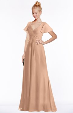 ColsBM Ellen Almost Apricot Modern A-line V-neck Short Sleeve Zip up Floor Length Bridesmaid Dresses