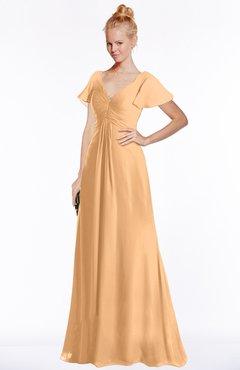 ColsBM Ellen Apricot Modern A-line V-neck Short Sleeve Zip up Floor Length Bridesmaid Dresses