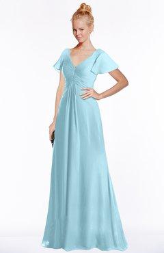 ColsBM Ellen Aqua Modern A-line V-neck Short Sleeve Zip up Floor Length Bridesmaid Dresses