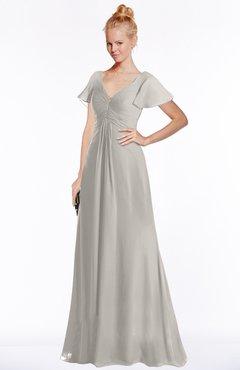 ColsBM Ellen Ashes Of Roses Modern A-line V-neck Short Sleeve Zip up Floor Length Bridesmaid Dresses