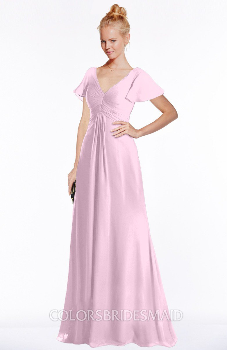 Colsbm Ellen Baby Pink Modern A Line V Neck Short Sleeve Zip Up Floor