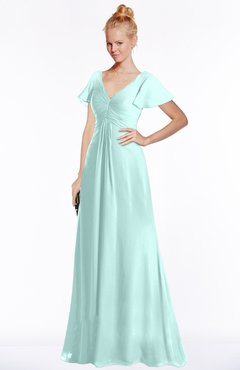 ColsBM Ellen Blue Glass Modern A-line V-neck Short Sleeve Zip up Floor Length Bridesmaid Dresses