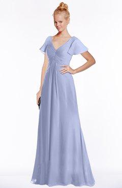 ColsBM Ellen Blue Heron Modern A-line V-neck Short Sleeve Zip up Floor Length Bridesmaid Dresses